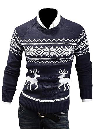 SportsX Mens Jacquard Knitting Christmas Round Collar Winter Long-Sleeve Sweaters