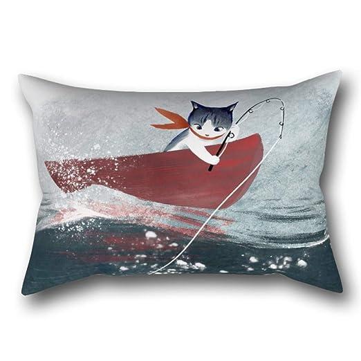 GYTOP Funda Cojín Catfish Cute Fantasy Cat Sirenas Ilustración Funda De Almohada 50X75Cm