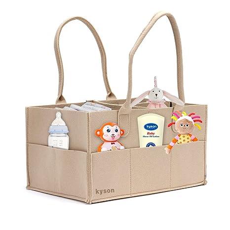 Kyson pañales organizador de cesta de fieltro de basura pañales toallitas para bebé bolsa de almacenamiento