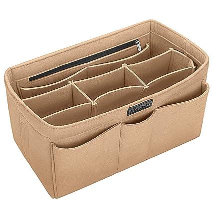 Ropch Organizador de Bolso de Fieltro, Multi-Bolsillo Organizador Bolso Insertar Bag in Bag Bolso Cosmético para Mujer (Beige, M)