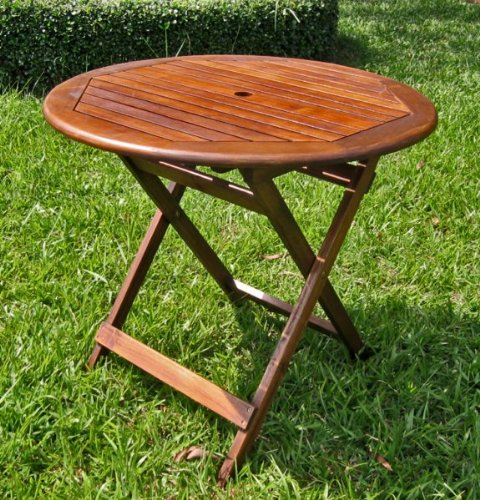 Round All-Weather Outdoor Folding Wood Table w UV Protection