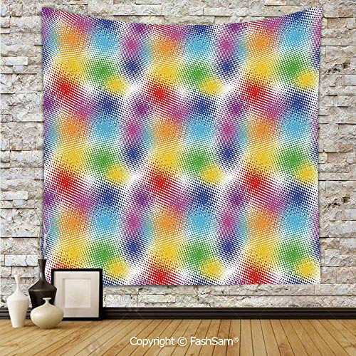 (Hanging Tapestries Colorful Dots with Halftone Effect Illusion of The Gradient Dynamic Fantasy Artistic Decorative Wall Blanket for Living Room Dorm Decor(W51xL59))