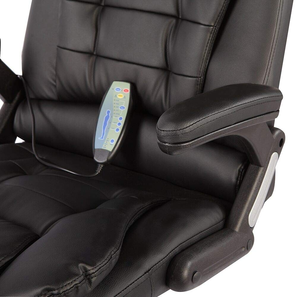 Black Massage Chair Office Swivel Executive Ergonomic Heated Vibrating Leather Chair, Remote Control 6-Point Massage, Adjustable Seat Height & Position by Taltintoo20 (Image #9)