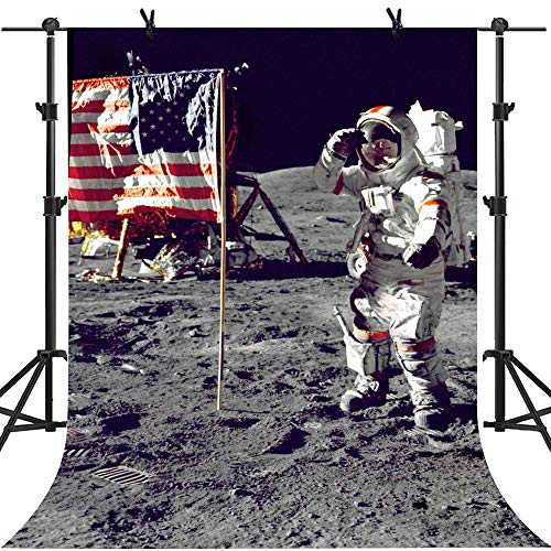 - MME 5x7Ft Apollo Moon Landing Backdrop The Space Backdrop American Space Station Background Vinyl Props Video Studio Photography LUME328