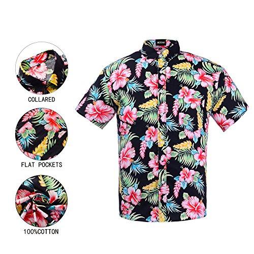 Men's Hawaiian Short Sleeve Shirt- MCEDAR Aloha Flower Print Casual Button Down Slim Fit Beach Shirts With Pocket(S, (Hawaiian Floral Pattern Shirt)