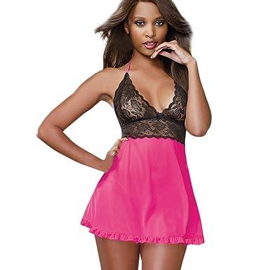 46723357ec98d SANFASHION Lingerie Women Sexy Underwear Babydoll Sleepwear Lace Dress G- String Set  Amazon.co.uk  Clothing