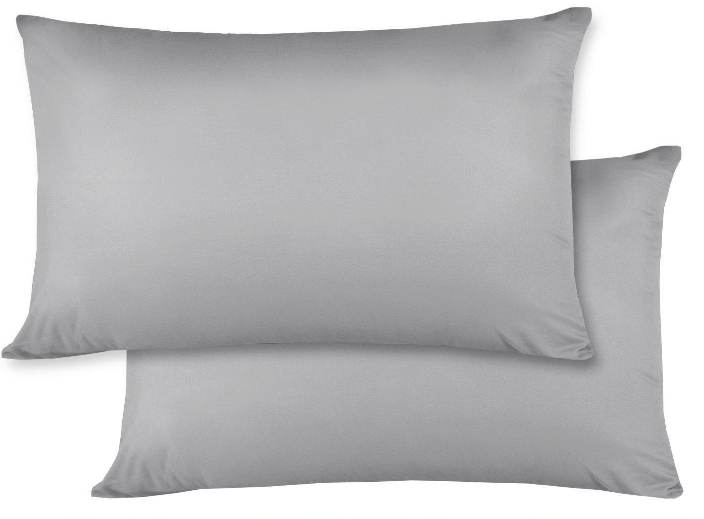 2のセット – 幼児旅行枕カバー500スレッドカウント14 x 20サイズ、シルバーグレー、with 100 %エジプト綿   B07CRZW7BF