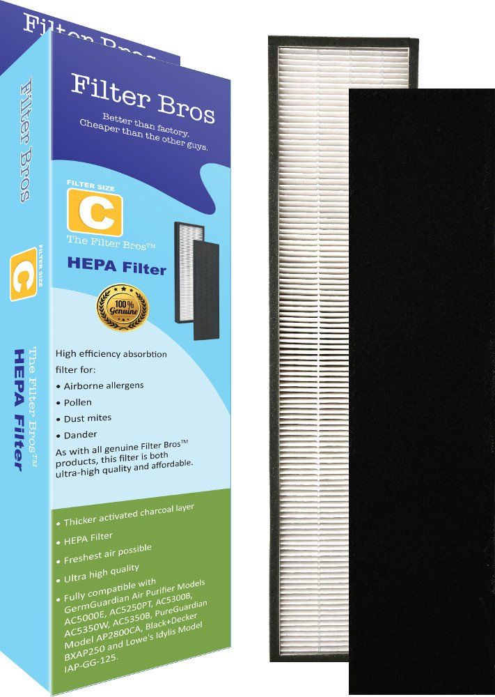 FLT5000 True HEPA Replacement Filter C for GermGuardian AC5000 Home Air Cleaner Purifiers, AC5300B / AC5250PT with Pet Technologies, AC5350 Systems Captures Allergies / Pets / Germ / Smokers
