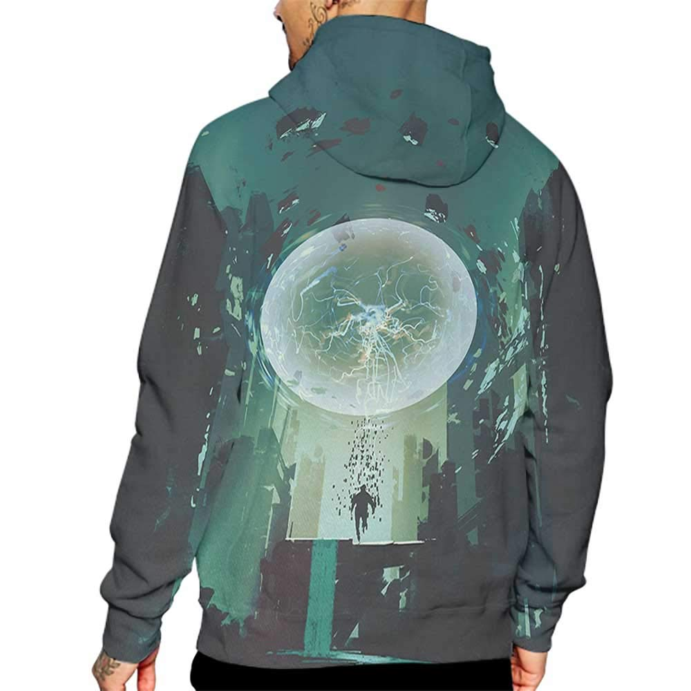 Hoodies Sweatshirt/Autumn Winter Fantasy,Ball and Human Merging Building Dark Feeling Magic Featured Comics Fiction Artwork,Teal Black Sweatshirt Blanket