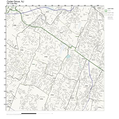 Amazon.com: ZIP Code Wall Map of Cedar Grove, NJ ZIP Code Map Not ...