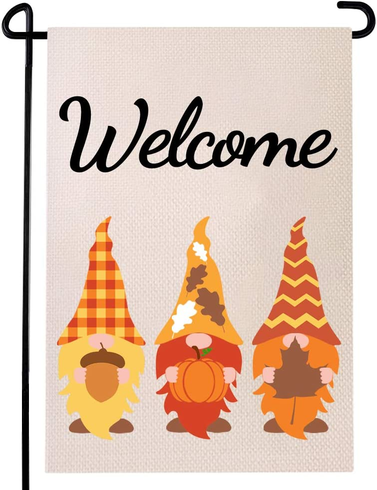 Autumn Gnomes Garden Flag Welcome Pumpkin Sign Fall Maple Pinecone Buffalo Check Plaid Double Sided Rustic Farmhouse Home Yard Decoration 12.5 x 18 Inches