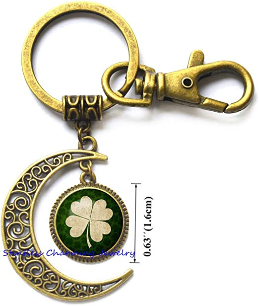1999 Lucky Penny /& Four Leaf Clover Charm Keyring Birthday Gift For Him Or Her In Gift Bag