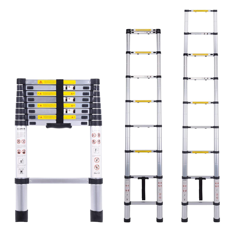Myifan Telescopic Ladder Multi Purpose Aluminium Telescoping Ladder Extension Extend Portable Ladder Foldable Ladder EN131Standards 2.6M 8.5Ft