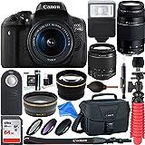Canon T6i / 750D DEOS Rebel DSLR Camera w/ EF-S 18-55mm & 75-300mm III Lens Kit + 64GB SD Memory + SLR Photo Bag + Wide Angle Lens + 2x Telephoto Lens + Flash + Remote + Tripod & DigitalAndMore Bundle
