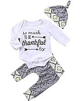Baby Boy Girl 3pcs Outfit Thankful Printing Romper+Arrow Long Pants+Hats