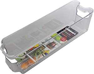 Cuisinart Freezer and Fridge Organizer Bins – Small Plastic Organizer Bin, Measures 4.25 x 14.5 x 4 Inches – Ideal for Storing Jars and Condiments – Built-In Handle, Stackable, BPA Free