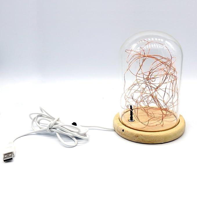 USUN Innen LED Draht Lichter, USB Nachtlichter Glasabdeckung Holz Basis  Tisch Schreibtischlampe Home Office Dekoration Lichter: Amazon.de:  Beleuchtung