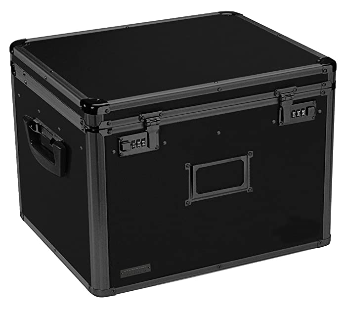 Vaultz Locking File Storage Chest, Two-Handled, Letter/Legal File Storage, 17 1/2 W x 14 D x 12 1/2 H Inches, Tactical Black (VZ00306)