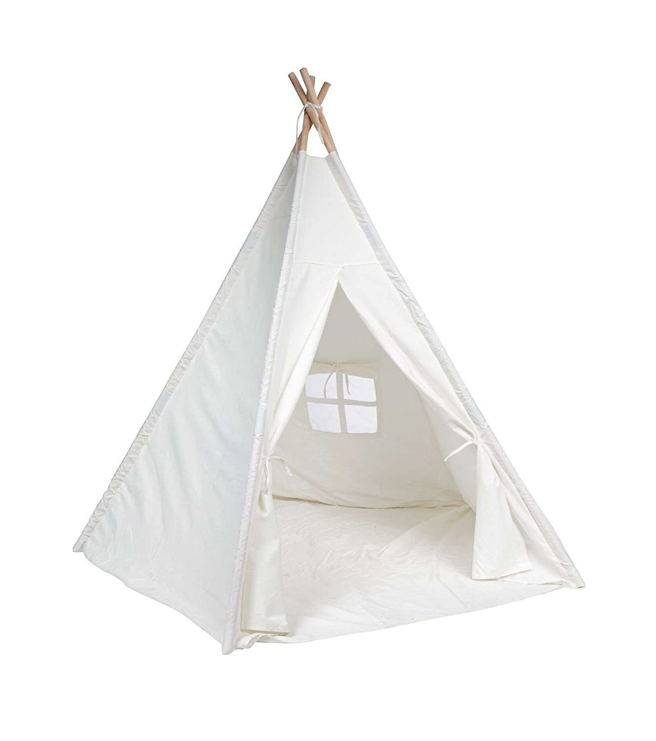 DeceStar Teepee Tent for Kids Natural Cotton Canvas Play Tent