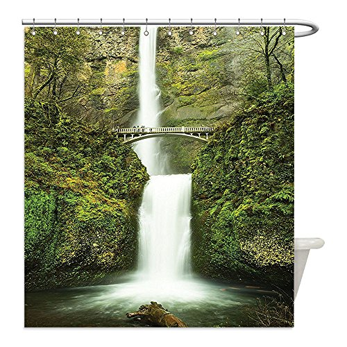 Costume Diy Hobbit (Liguo88 Custom Waterproof Bathroom Shower Curtain Polyester Hobbits Falls of Rivendell Multnomah Waterfall Oregon with Hobbit Elf Path Bridge Scene Image Decor Green Decorative)