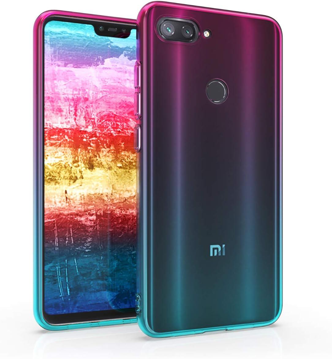 kwmobile Funda Compatible con Xiaomi Mi 8 Lite - Carcasa de TPU Bicolor - Rosa Fucsia/Azul/Transparente