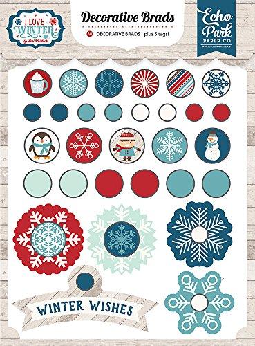 Making Memories Decorative Brads - Echo Park Paper Company I I Love Winter Decorative Brads