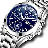 Mens Watches LIGE Business Analog Quartz Watch Men Full Steel Waterproof Luminous Sport Wristwatch Blue