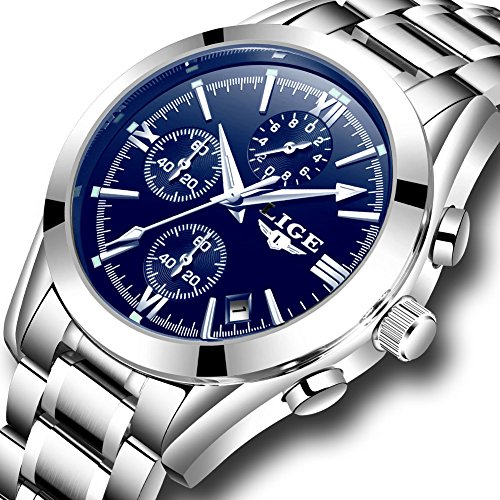 Mens Watches LIGE Business Analog Quartz Watch Men Full Steel Waterproof Luminous Sport Wristwatch Blue by LIGE