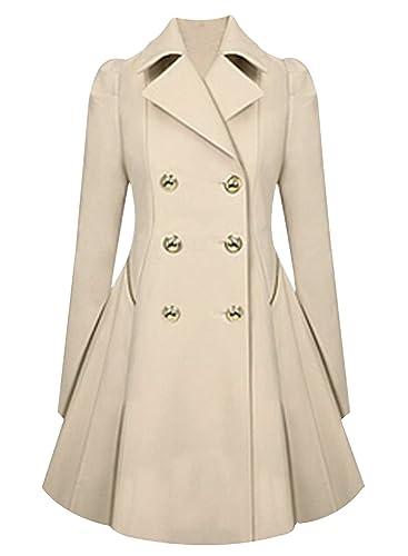 ACHICGIRL Mujer Moda Abrigo Elegante Color Bloque Botones con Mangas Largas