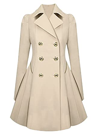 d06b216e95d Amazon.com  Azbro Women Long Sleeves Attractive Double-Breasted Trench Coat   Clothing