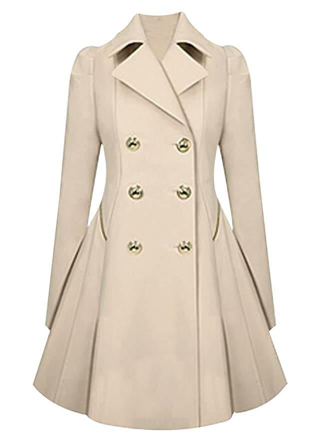 Amazon.com: Azbro Women Long Sleeves Attractive Double-Breasted Trench Coat: Clothing