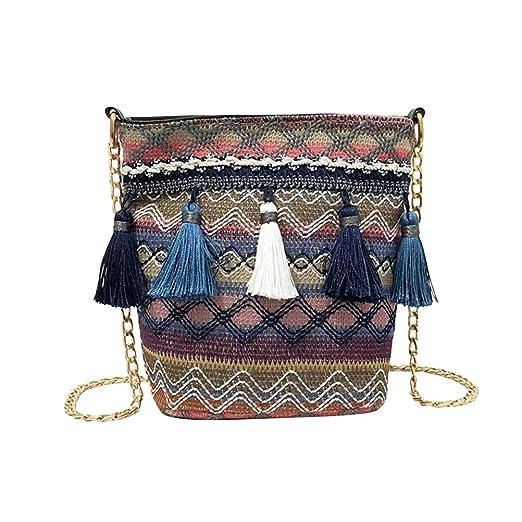 Crochet Crossbody Bolso bandolera organizador de bolso de ganchillo con borlas (azul marino)