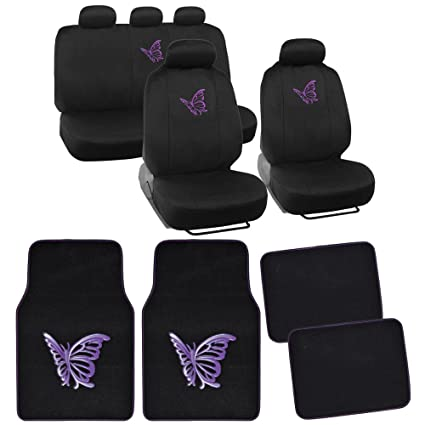 13pc BDK Butterfly Purple Combo Auto Interior Gift Set Seat Covers And Matching Carpet Floor
