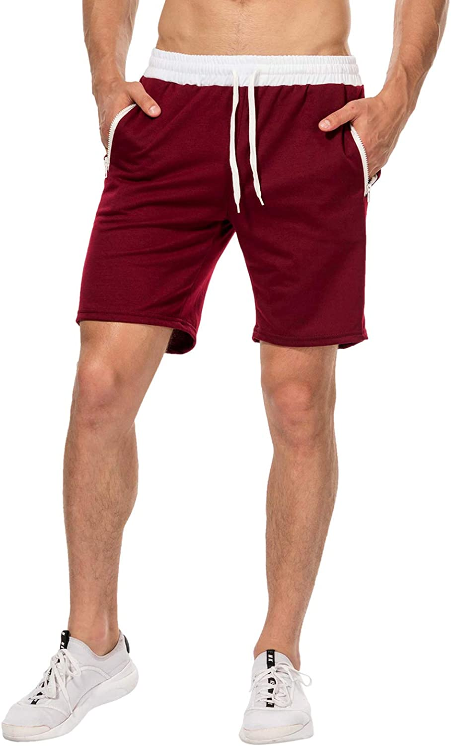 Men Loose Shorts Summer Casual Men Shorts Male Sweatpants Fitness Joggers Short Gyms with Zipper Pockets