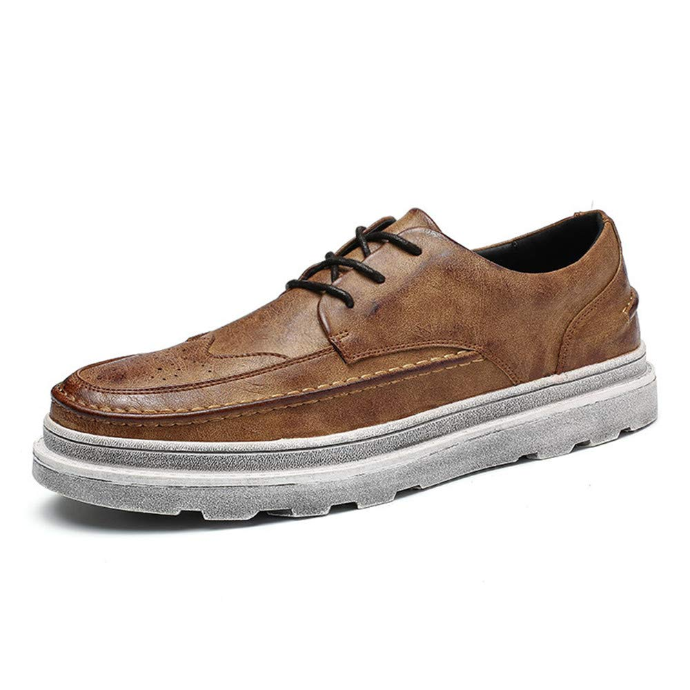 Brown XIANGBAO-Personality Men's Classico Business Oxford Casual Fashion New Solid color Vintage Outsole Increased Waterproof Brogue shoes