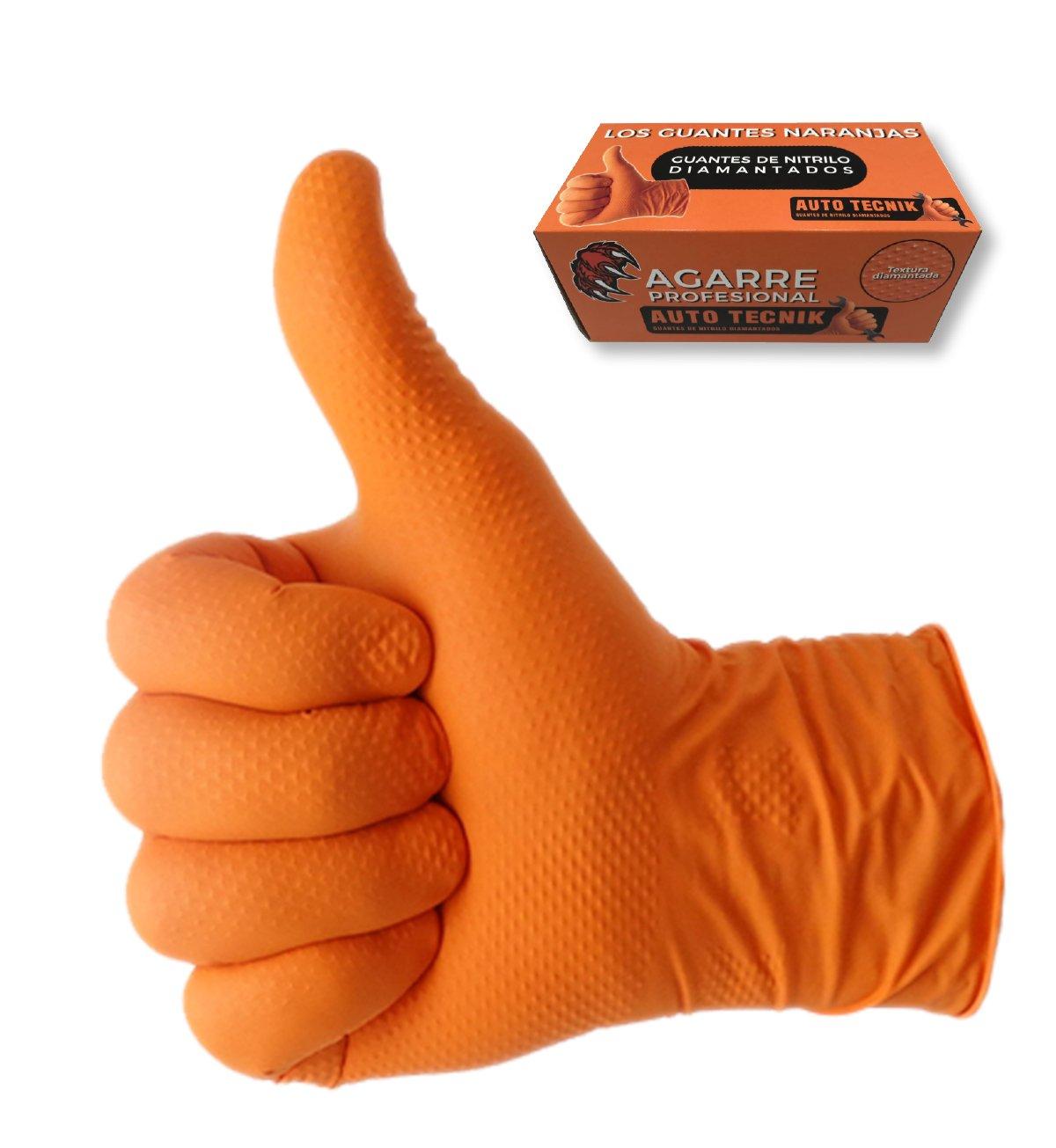 GUANTES de NITRILO DIAMANTADO naranjas - Los guantes de nitrilo MÁ S RESISTENTES del mercado - SIN LÁ TEX - REUTILIZABLES (S) AUTOTECNIK