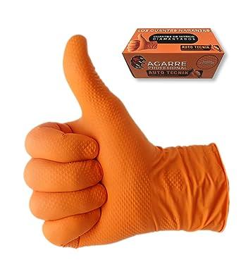 GUANTES de NITRILO DIAMANTADO naranjas - Los guantes de nitrilo MÁS RESISTENTES del mercado - SIN