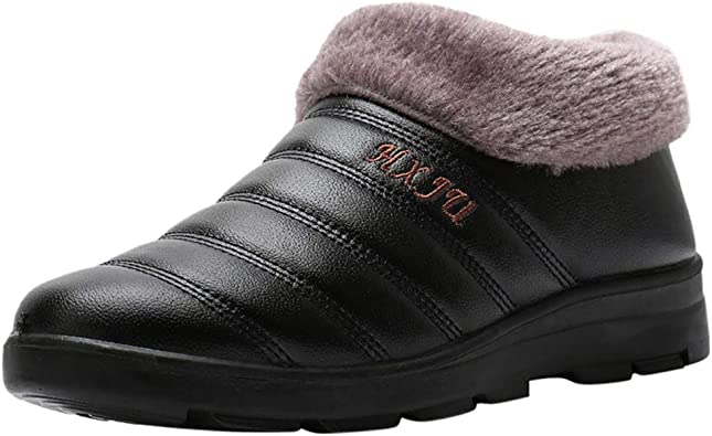 Winter Ankle Bare Boots Warm Slip-On