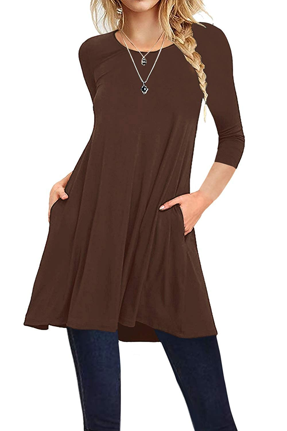 I2CRAZY Women's Tunics Tops Casual Loose 3/4 Sleeves Round Neck T Shirt Blouses with Pockets IC-916