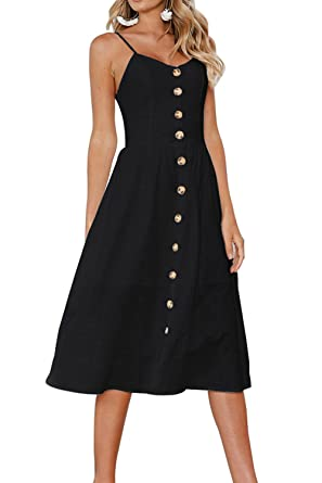 6107c3545f9c Image Unavailable. Image not available for. Color: Merryway Women's Summer  Spaghetti Strap Solid Color Button Down Swing Midi Dress