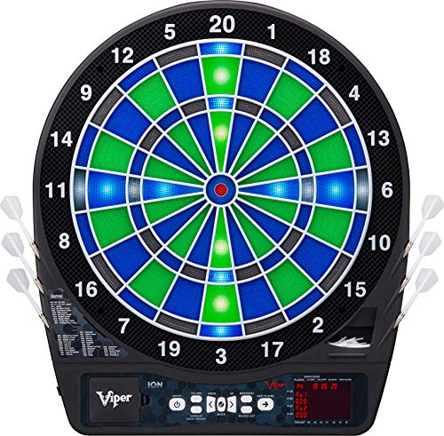 Viper Ion Electronic Dartboard, Illuminated Segments, Light Based Games, Green And Blue Segment Colors, Ultra Thin Spider to Increased Scoring Area, Target Tested Tough Segment For Enhanced ()
