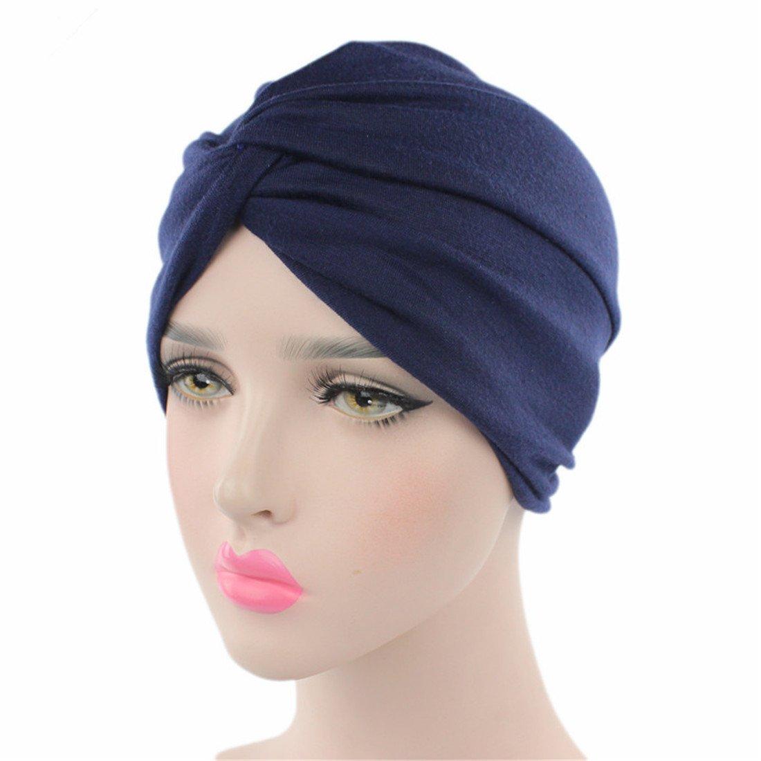 Sombrero del Turbante del algodón del Color Puro de la Moda de Las Mujeres  Casquillo musulmán del Hijab del algodón (Azul Marino)  Amazon.es  Ropa y  ... 6647ab95b28