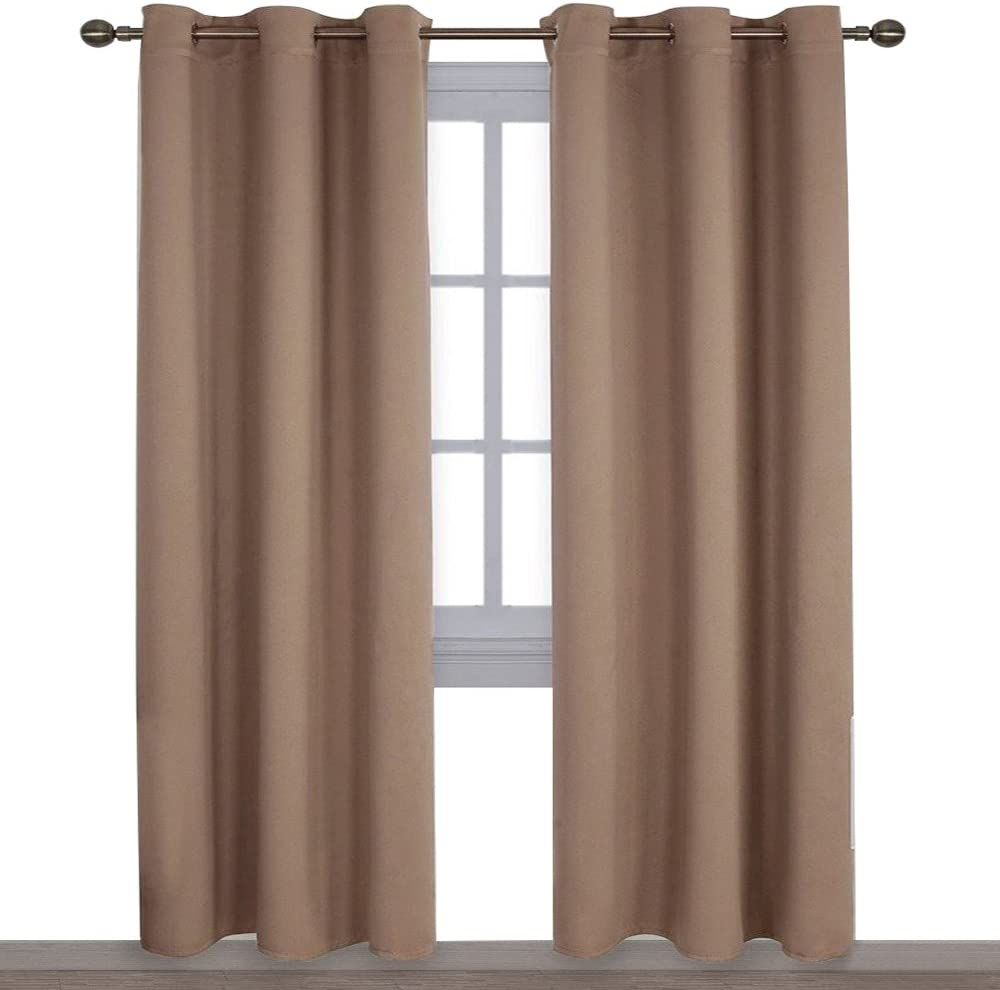 NICETOWN Window Treatment Thermal Insulated Solid Grommet Blackout Curtains/Drapes for Bedroom (1 Pair,42 by 84 Inch,Cappuccino)