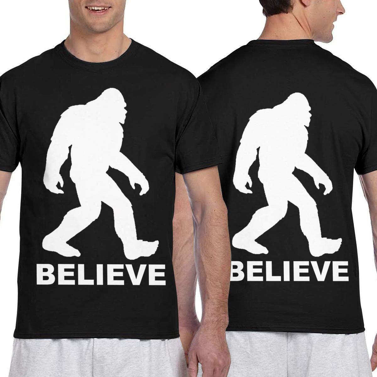 Bigfoot Sasquatch Believe Mens Short Sleeve T-Shirt Print Tees Tops