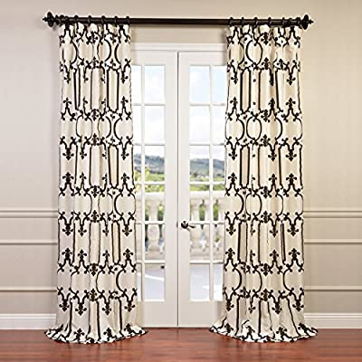 "HPD Half Price Drapes PTFFLK-C32-96 Designer Flocked Curtain (1 Panel), 50 X 96, Royal Gate Off White & Brown - Sold Per Panel 51% Polyester 49% Nylon | Lined 3"" Pole Pocket with Hook Belt - living-room-soft-furnishings, living-room, draperies-curtains-shades - 61f73zoZi L. SS400  -"