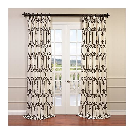 "Half Price Drapes PTFFLK-C32-96 Flocked Faux Silk Taffeta Curtain, Royal Gate - Sold Per Panel 51% Polyester 49% Nylon | Lined 3"" Pole Pocket with Hook Belt - living-room-soft-furnishings, living-room, draperies-curtains-shades - 61f73zoZi L. SS570  -"