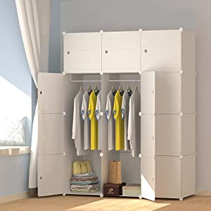JOISCOPE MEGAFUTURE Wood Pattern Portable Wardrobe Closet for Hanging Clothes, Combination Armoire, Modular Cabinet for Space Saving, Ideal Storage Organizer Cube for Books, Toys, Towels (12-Cube)