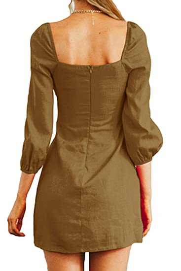 4c7e8dde67 FAFOFA Women Sexy Square Neck Button up Puff Long Sleeve Linen Party Mini  Dress at Amazon Women s Clothing store