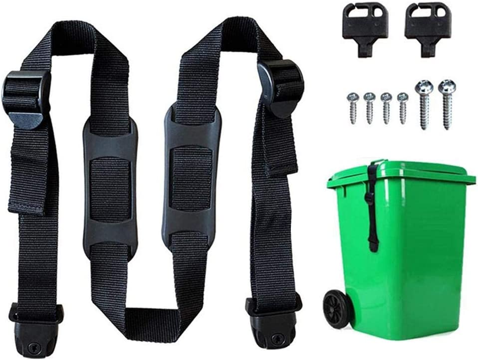 Black neversaynever Bin Strap Garbage Lock Trash Can Lid Strap Garbage Can Security System Garbage Can Security Fixing Rope Prevent Odor Emission- 1.57 in Nylon Strap with Buckle