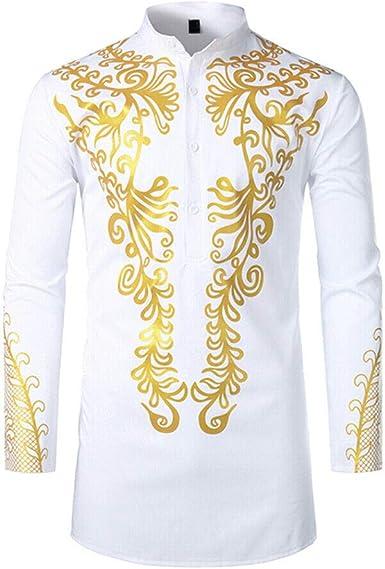 Deylaying Camisetas con Estampado de Bronceado Musulmán para Hombre Dashiki Africana de Moda Botón de Manga Larga Robe: Amazon.es: Ropa y accesorios